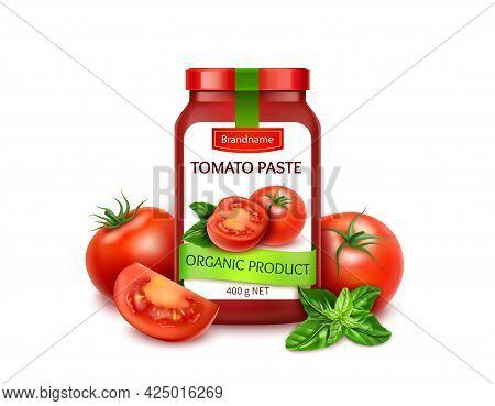 Realistic Detailed 3d Natural Tomatoes Paste With Ripe Red Tomato Slices, Whole And Green Basil Leav