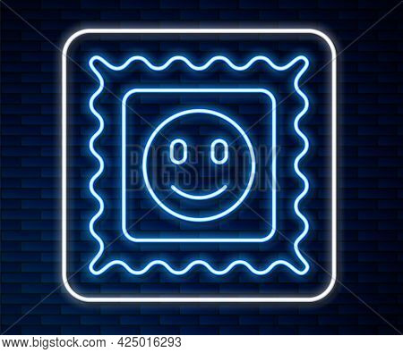 Glowing Neon Line Lsd Acid Mark Icon Isolated On Brick Wall Background. Acid Narcotic. Postmark. Pos