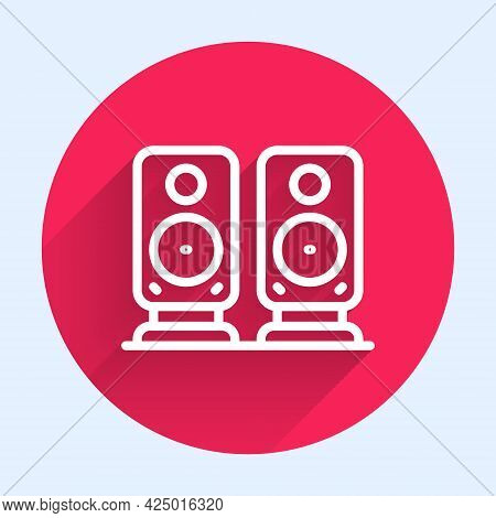 White Line Stereo Speaker Icon Isolated With Long Shadow. Sound System Speakers. Music Icon. Musical