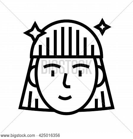 Woman After Keratin Used Line Icon Vector. Woman After Keratin Used Sign. Isolated Contour Symbol Bl