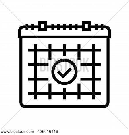 Date For Visit Hairstylist Line Icon Vector. Date For Visit Hairstylist Sign. Isolated Contour Symbo