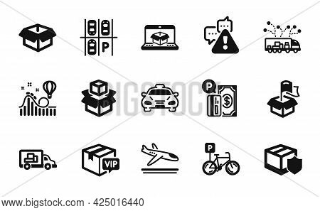 Vector Set Of Packing Boxes, Roller Coaster And Opened Box Icons Simple Set. Parking Place, Arrivals