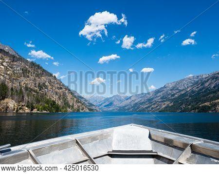 Scenic Landscape Of Lake Chelan From Aboard The Chelan - Stehekin Ferry - Washington State, Usa