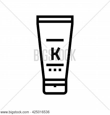Oil Keratin Tube Line Icon Vector. Oil Keratin Tube Sign. Isolated Contour Symbol Black Illustration