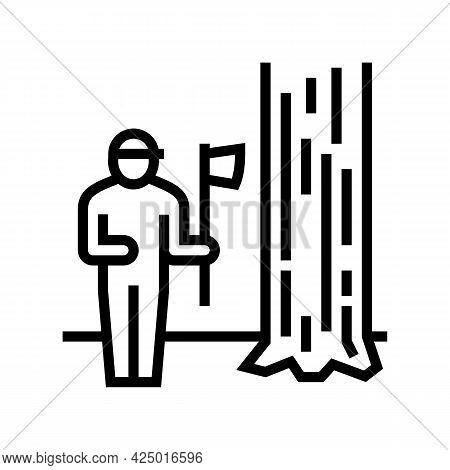 Lumberjack Chopping Wood Line Icon Vector. Lumberjack Chopping Wood Sign. Isolated Contour Symbol Bl