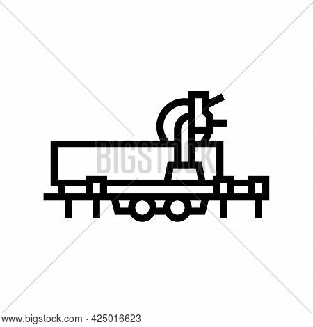 Saw Trailer Line Icon Vector. Saw Trailer Sign. Isolated Contour Symbol Black Illustration