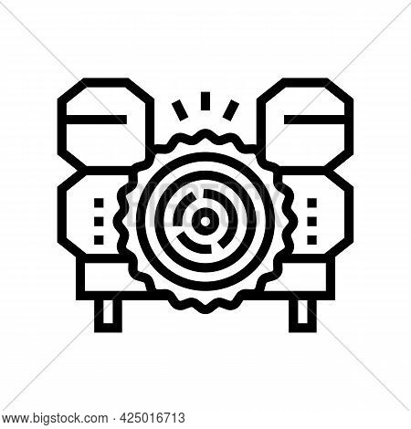 Wood Timber Sawmill Machine Line Icon Vector. Wood Timber Sawmill Machine Sign. Isolated Contour Sym