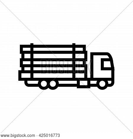 Truck Transportation Wood Timber Line Icon Vector. Truck Transportation Wood Timber Sign. Isolated C