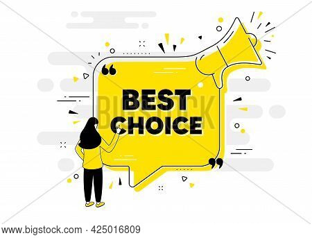 Best Choice Text. Alert Megaphone Chat Banner With User. Special Offer Sale Sign. Advertising Discou