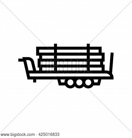 Trailer With Wood Timber Line Icon Vector. Trailer With Wood Timber Sign. Isolated Contour Symbol Bl