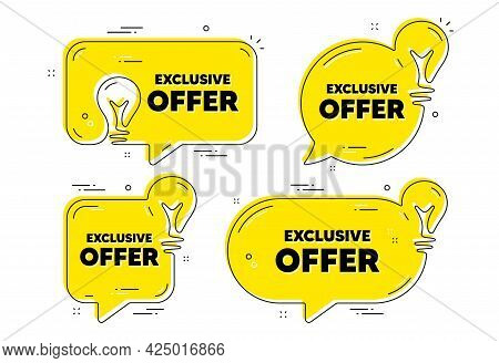 Exclusive Offer Text. Idea Yellow Chat Bubbles. Sale Price Sign. Advertising Discounts Symbol. Exclu