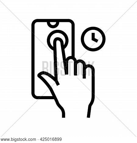 Press And Holding Phone Display Line Icon Vector. Press And Holding Phone Display Sign. Isolated Con