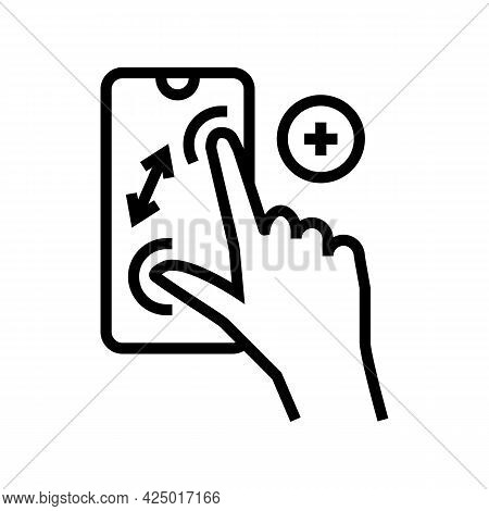 Zoom In Gesture Phone Screen Line Icon Vector. Zoom In Gesture Phone Screen Sign. Isolated Contour S