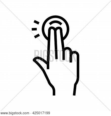 Double Tap With Fingers On Smartphone Screen Line Icon Vector. Double Tap With Fingers On Smartphone