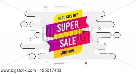 Super Sale Banner. Geometric Ad Banner On Flow Pattern. Discount Sticker Shape. Coupon Tag Icon. Tra