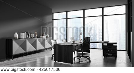 Corner View On Panoramic Dark Grey Office With Sideboard And Wide Desk, Drawer And Three Office Chai