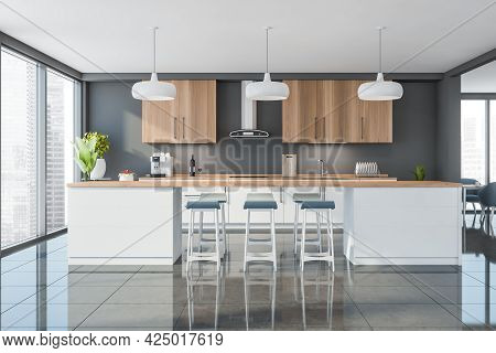 Panoramic Studio Interior With Skyscrapers. Panoramic Kitchen With Blue Bar Stools, White Table, Woo