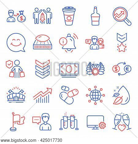 Business Icons Set. Included Icon As People Talking, Person Talk, Takeaway Coffee Signs. Information