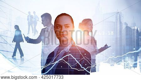Double Exposure Of Smiling Positive Young Professionals. Line Graphs. Silhouettes Of Diverse Busines