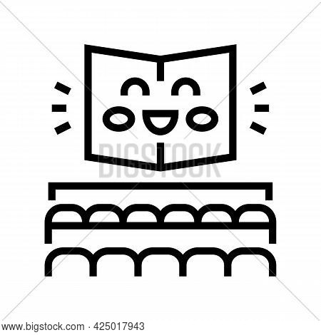 Reading Room Booking In Library Line Icon Vector. Reading Room Booking In Library Sign. Isolated Con