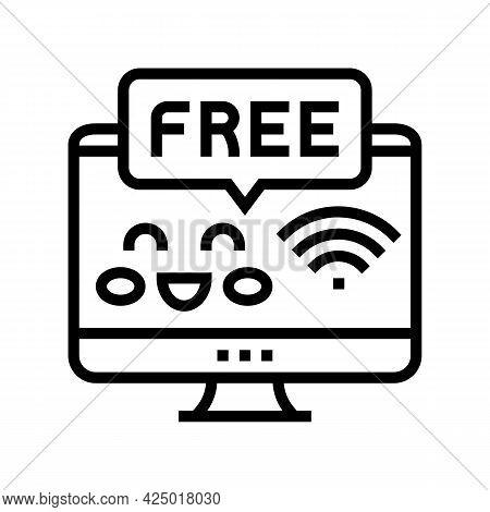 Free Internet In Children Library Line Icon Vector. Free Internet In Children Library Sign. Isolated
