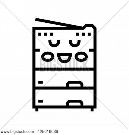 Photocopy Of Material Children Book Line Icon Vector. Photocopy Of Material Children Book Sign. Isol