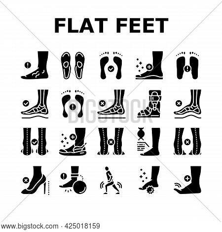 Flat Feet Disease Collection Icons Set Vector. Orthopedic Insoles And Shoes, Inward And Outward Curv