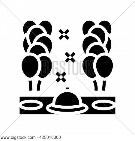 Dinner Party Balloon Decoration Glyph Icon Vector. Dinner Party Balloon Decoration Sign. Isolated Co