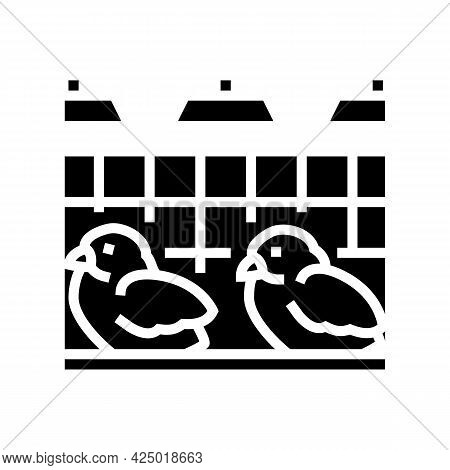 Chick In Poultry Farm Glyph Icon Vector. Chick In Poultry Farm Sign. Isolated Contour Symbol Black I