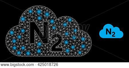 Magic Mesh Vector Nitrogen Gas With Glow Effect. White Mesh, Glare Spots On A Black Background With