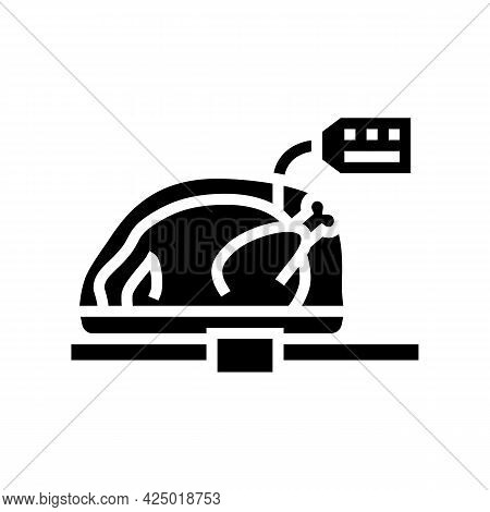 Chicken Carcass In Package On Market Counter Glyph Icon Vector. Chicken Carcass In Package On Market