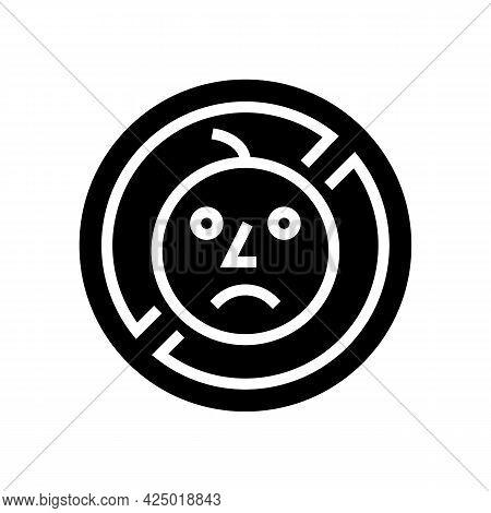 Child Prohibition Sign Glyph Icon Vector. Child Prohibition Sign Sign. Isolated Contour Symbol Black