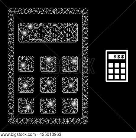 Bright Mesh Vector Dollar Calculator With Glare Effect. White Mesh, Flash Spots On A Black Backgroun