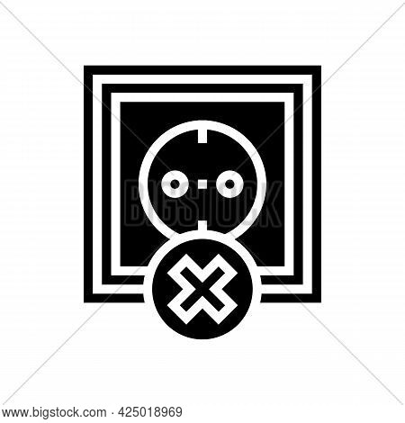 Socket Use Prohibition Kids Glyph Icon Vector. Socket Use Prohibition Kids Sign. Isolated Contour Sy