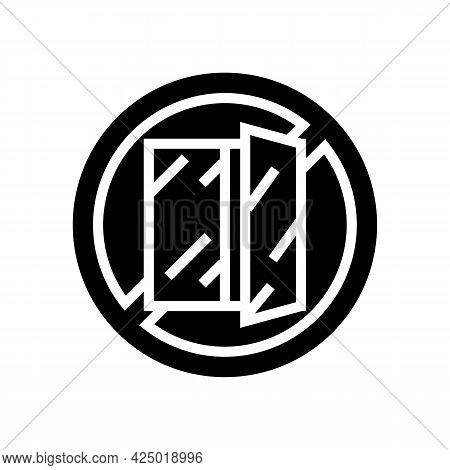 Open Window Prohibition Sign Glyph Icon Vector. Open Window Prohibition Sign Sign. Isolated Contour