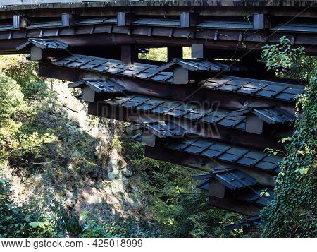 Supporting Beams Of Kai Saruhashi, One Of The Three Unusual Bridges Of Japan