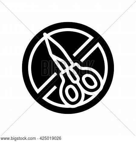 Scissor Use Prohibition Sign Glyph Icon Vector. Scissor Use Prohibition Sign Sign. Isolated Contour