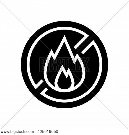 Fire Burning Prohibition Sign Glyph Icon Vector. Fire Burning Prohibition Sign Sign. Isolated Contou