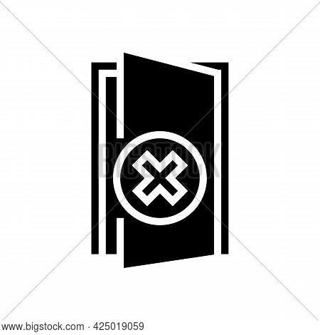 Open Door Prohibition For Safe Children Glyph Icon Vector. Open Door Prohibition For Safe Children S