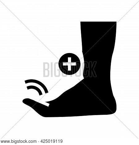 Bending Finger Feet Glyph Icon Vector. Bending Finger Feet Sign. Isolated Contour Symbol Black Illus