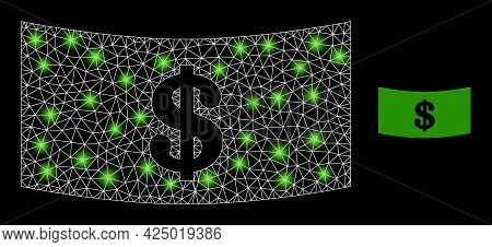 Glamour Mesh Vector Dollar Banknote With Glare Effect. White Mesh, Glare Spots On A Black Background