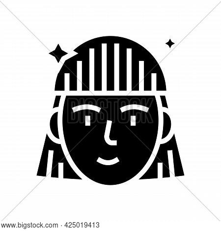 Woman After Keratin Used Glyph Icon Vector. Woman After Keratin Used Sign. Isolated Contour Symbol B