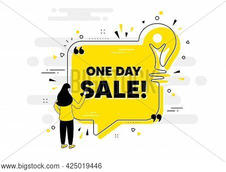 One Day Sale. Idea Chat Bubble Banner With Person. Special Offer Price Sign. Advertising Discounts S
