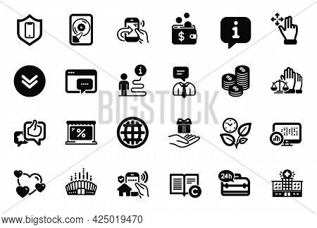 Vector Set Of Business Icons Related To Like, Arena Stadium And Scroll Down Icons. Loyalty Program,