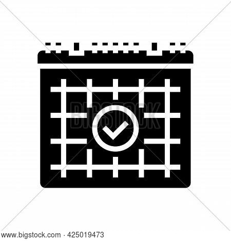 Date For Visit Hairstylist Glyph Icon Vector. Date For Visit Hairstylist Sign. Isolated Contour Symb