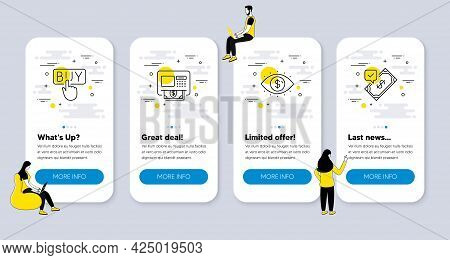 Vector Set Of Finance Icons Related To Atm, Buying And Business Vision Icons. Ui Phone App Screens W