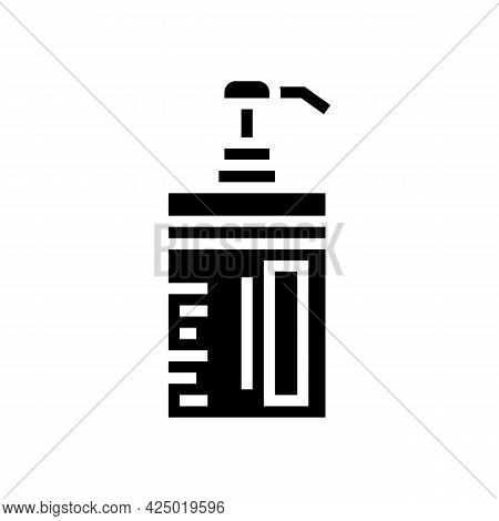 Conditioner Keratin Bottle With Pump Glyph Icon Vector. Conditioner Keratin Bottle With Pump Sign. I