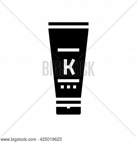 Oil Keratin Tube Glyph Icon Vector. Oil Keratin Tube Sign. Isolated Contour Symbol Black Illustratio