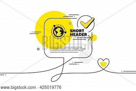 Global Business With Flags Icon. Continuous Line Check Mark Chat Bubble. International Outsourcing S