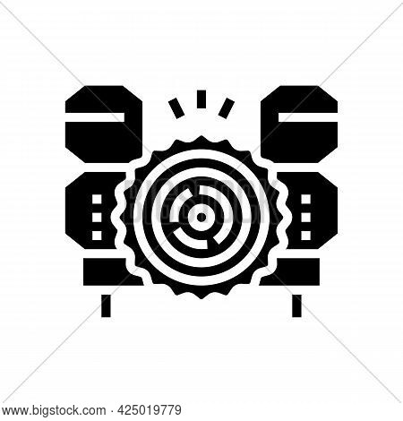 Wood Timber Sawmill Machine Glyph Icon Vector. Wood Timber Sawmill Machine Sign. Isolated Contour Sy